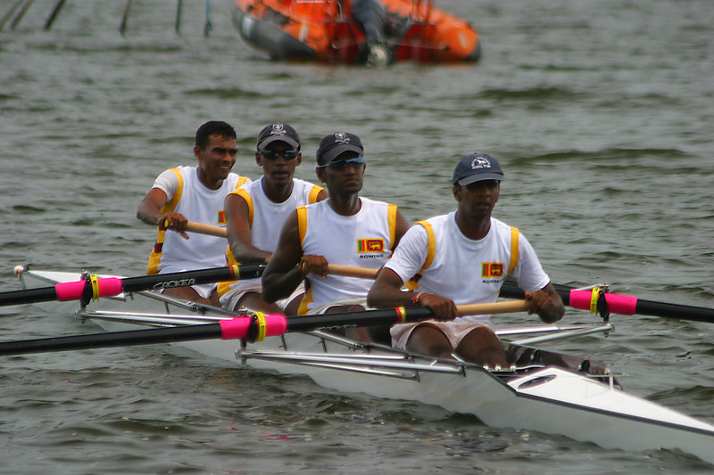 The SriLankan ltwt four on choppy water.