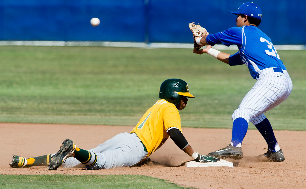 . Mira Costa\'s Keyon Allen (#1) slides back to second base in the sixth inning during quarterfinal baseball, Mira Costa at Bishop Amat on Friday, May 24, 2013. Mira Costa won 4-2. (SGVN/Staff photo by Watchara Phomicinda)