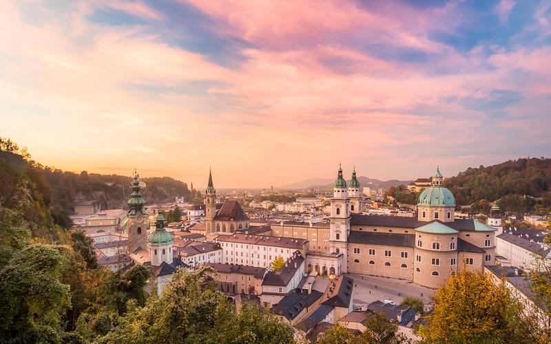 Sunset Sky over Salzburg, Austria