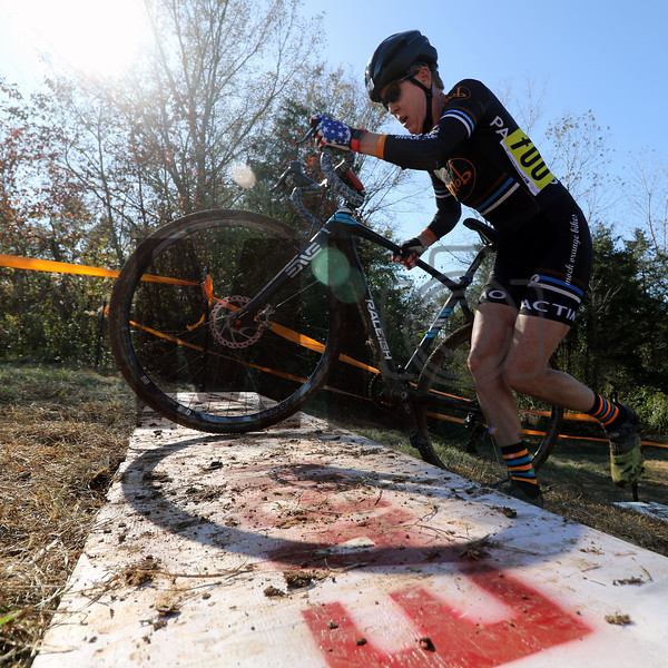 Kim Bishop (700) competes in NC Cyclo-Cross Race #9 at Renaissance Park in Charlotte, North Carolina, on Sunday, November 17, 2019