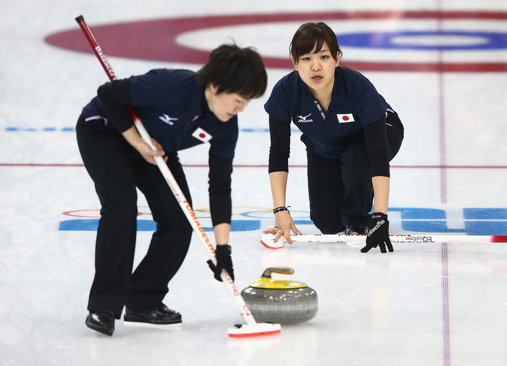 . Chinami Yoshida of Japan in action during a training session during day 3 of the Sochi 2014 Winter Olympics at Ice Cube Curling Center on February 10, 2014 in Sochi, Russia.  (Photo by Clive Mason/Getty Images)