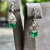 2.00ctw+ Emerald and Diamond Art Deco Conversion Earrings 2