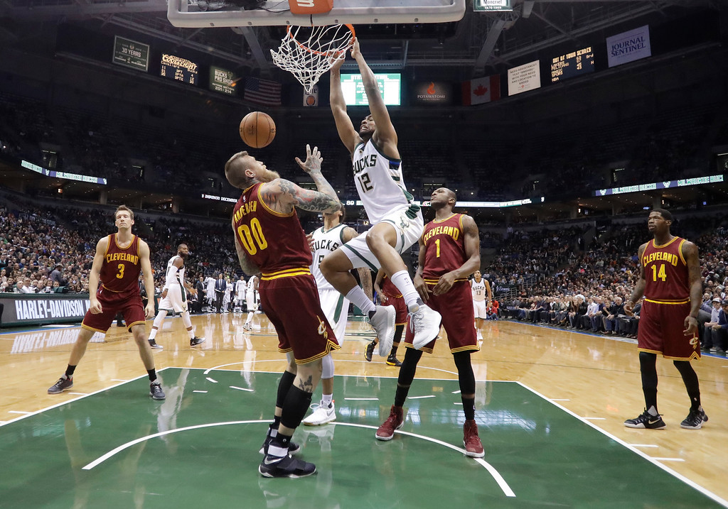 . Milwaukee Bucks\' Jabari Parker dunks during the second half of an NBA basketball game against the Cleveland Cavaliers Tuesday, Nov. 29, 2016, in Milwaukee. (AP Photo/Morry Gash)