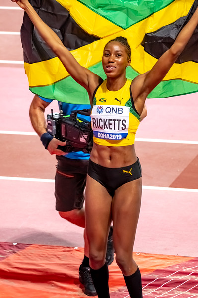 Shanieka Ricketts of Jamaica celebrates after winning the silver medal in the Women's Triple Jump Final during day nine of 17th IAAF World Athletics Championships Doha 2019 at Khalifa International Stadium on October 05, 2019 in Doha, Qatar. Photo by Tom Kirkwood/SportDXB