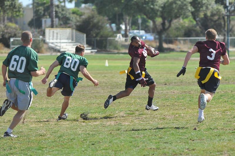 Running for touchdown after catching pass