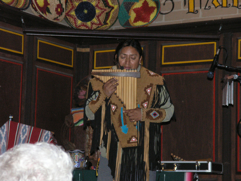 Andean flute player in the Bazaar del Mundo.