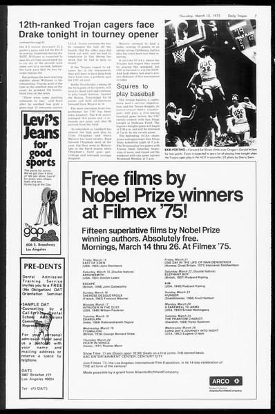 Daily Trojan, Vol. 67, No. 91, March 13, 1975