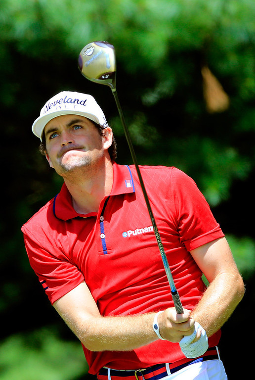 . Keegan Bradley hits off the second tee during the Final Round of the World Golf Championships-Bridgestone Invitational at Firestone Country Club South Course on August 4, 2013 in Akron, Ohio.  (Photo by Sam Greenwood/Getty Images)