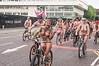 Cyclists in the World Naked Bike Ride, Manchester UK