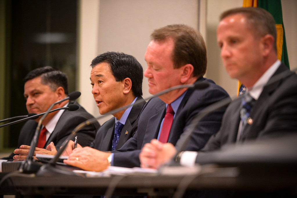 . L to R, Patrick Gomez, Paul Tanaka, Jim McDonnell and Lou Vince at a candidate debate for Los Angeles County Sheriff at the Van Nuys Neighborhood Council on Wednesday, March 12, 2014.   (Photo by David Crane/Los Angeles Daily News)