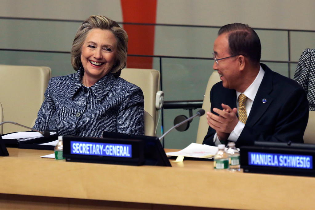 . Hillary Rodham Clinton is applauded by United Nations Secretary-General Ban Ki-moon, as she\'s introduced prior to her remarks at the United Nations, during the annual Women�s Empowerment Principles event, Tuesday, March 10, 2015. (AP Photo/Richard Drew)