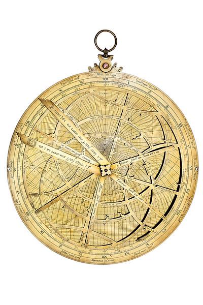 Astrolabe stéréographique, septentrional d'astrolabe de Roias à utiliser suspendu et verticalement, 1610.