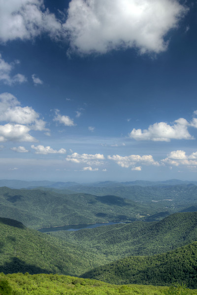 View of a nearby lake from the Craggy Gardens Overlook at Milepost 364 on the Blue Ridge Parkway in NC on Saturday, June 15, 2013. Copyright 2013 Jason Barnette