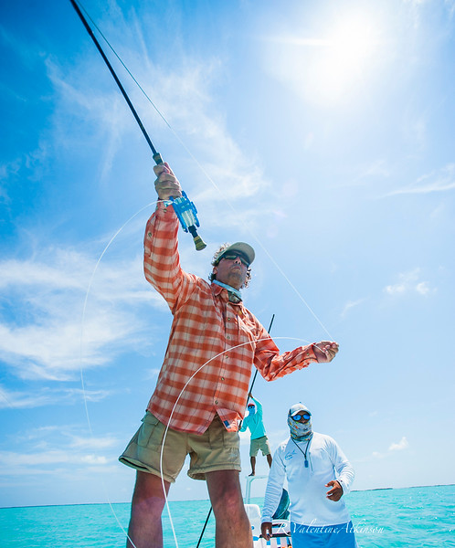 Murray Roberts and guides at palometa club, ascension bay, mexico. permit fishing.