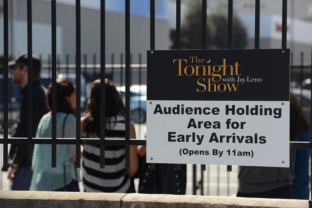 . The audience enters NBC for the west coast taping of the Tonight Show with Jay Leno at NBC in Burbank.  The show may be moving taping to New York.   Photo by David Crane/Los Angeles Daily News.