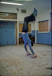 Skateboarding in the hut