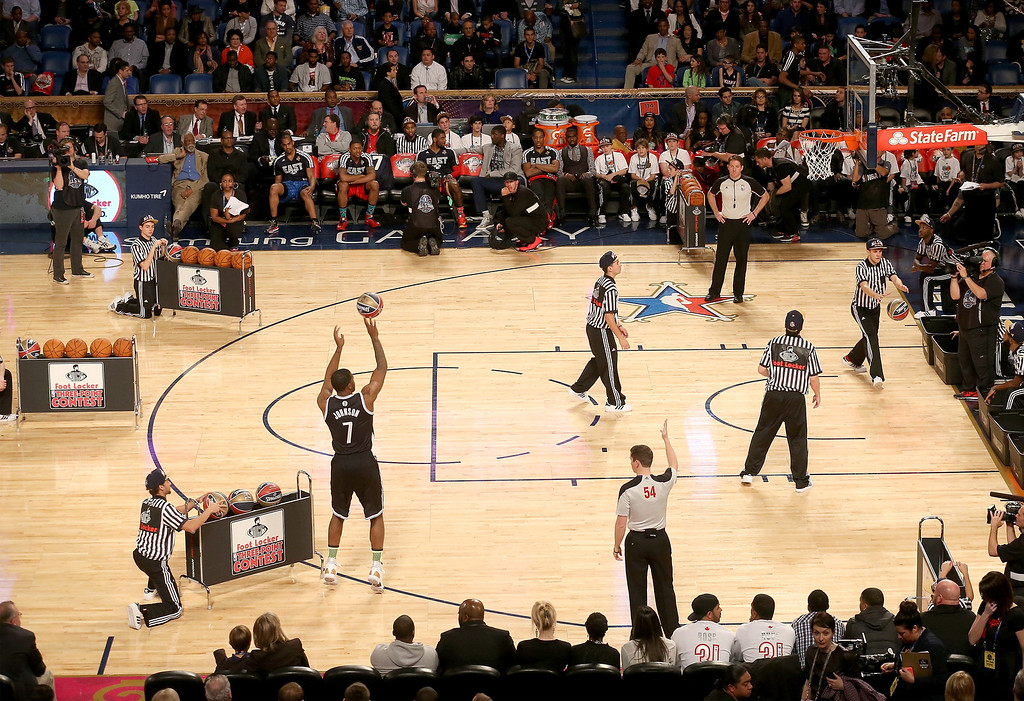 . NEW ORLEANS, LA - FEBRUARY 15: Eastern Conference All-Star Joe Johnson #7 of the Brooklyn Nets competes in the Foot Locker Three-Point Contest 2014 as part of the 2014 NBA All-Star Weekend at the Smoothie King Center on February 15, 2014 in New Orleans, Louisiana. (Photo by Christian Petersen/Getty Images)