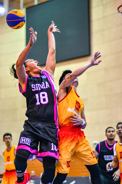 Bolts v's Combine in action during 3x3 Beat the Heat VIII Quarter Final 4 at Qatar Basketball Federation Sports Complex 30th August 2019. Photo by Tom Kirkwood