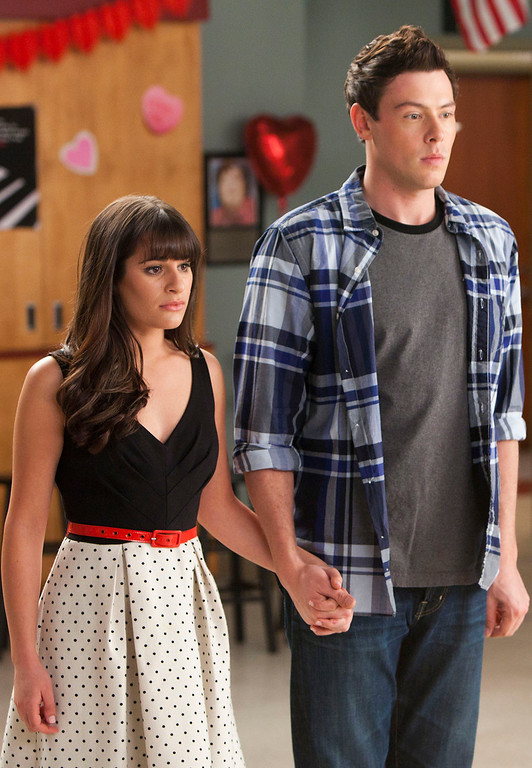 ". In this undated publicity image released by Fox, Lea Michele, left, and Cory Monteith are shown in a scene from ""Glee.\""    (AP Photo/Fox, Adam Rose)"