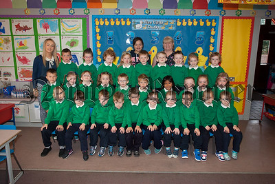 St Ronans PS New primary 1 class pictured with Teacher Miss Byrnes and Classroom Assistants Mrs McConnell and Miss Tumilty. R1539020