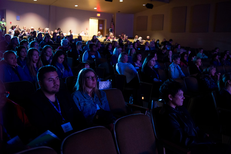 """LANCASTER, OHIO   MARCH 23, 2018: Audience members listen as Michelle Poler, founder of Hello Fears, talks about how she faced 100 of her fears in 100 days in the Wagner Theatre as one of the keynote speakers during the Celebrate Women Conference 2018, themed """"Recognizing Our Superpowers"""" on March 23, 2018 at Ohio University Lancaster in Lancaster, Ohio.  Ty Wright photo"""