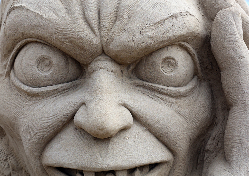 . Detail of a sand sculpture of Gollum is seen as pieces are prepared as part of this year�s Hollywood themed annual Weston-super-Mare Sand Sculpture festival on March 26, 2013 in Weston-Super-Mare, England. Due to open on Good Friday, currently twenty award winning sand sculptors from across the globe are working to create sand sculptures including Harry Potter, Marilyn Monroe and characters from the Star Wars films as part of the town\'s very own movie themed festival on the beach.  (Photo by Matt Cardy/Getty Images)