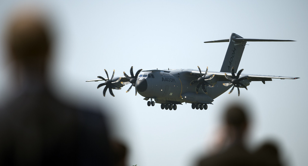 . A A400 M Airbus military aircraft lands on the ground of the International Air Show ILA in Schoenefeld near Berlin on May 20, 2014. Turkey is partner country of this year\'s aerospace trade show that runs until May 25, 2014. AFP PHOTO / JOHANNES EISELE/AFP/Getty Images