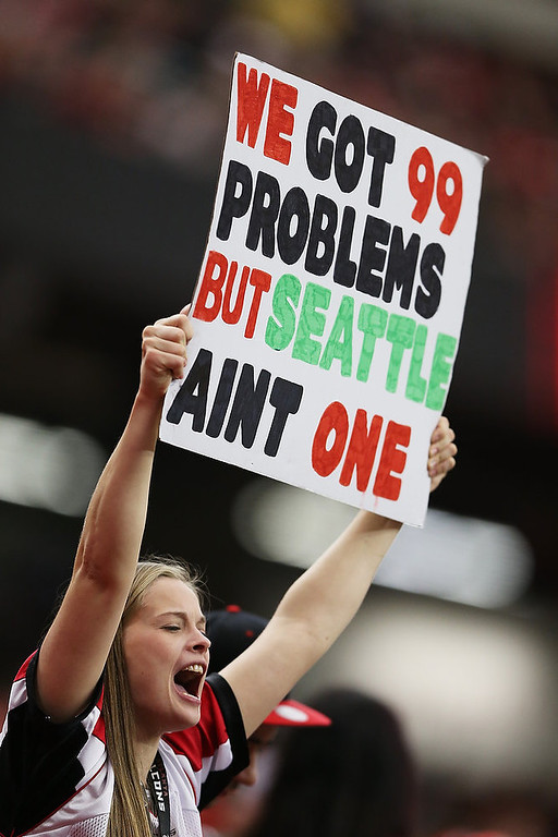 . An Atlanta Falcons fan holds up a sign at the start of their NFC Divisional Playoff Game against the Seattle Seahawks at Georgia Dome on January 13, 2013 in Atlanta, Georgia.  (Photo by Streeter Lecka/Getty Images)
