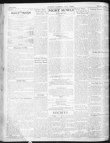 Daily Trojan, Vol. 22, No. 71, January 12, 1931