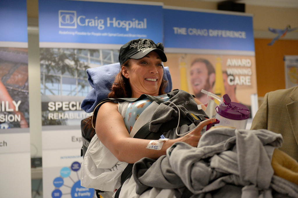 . Amy Van Dyken-Rouen answers questions front he media during a small press conference after arriving at Craig Hospital from Scottsdale Healthcare Osborne Medical Center June 18, 2014 by Angel MedFlight.  (Photo by John Leyba/The Denver Post)