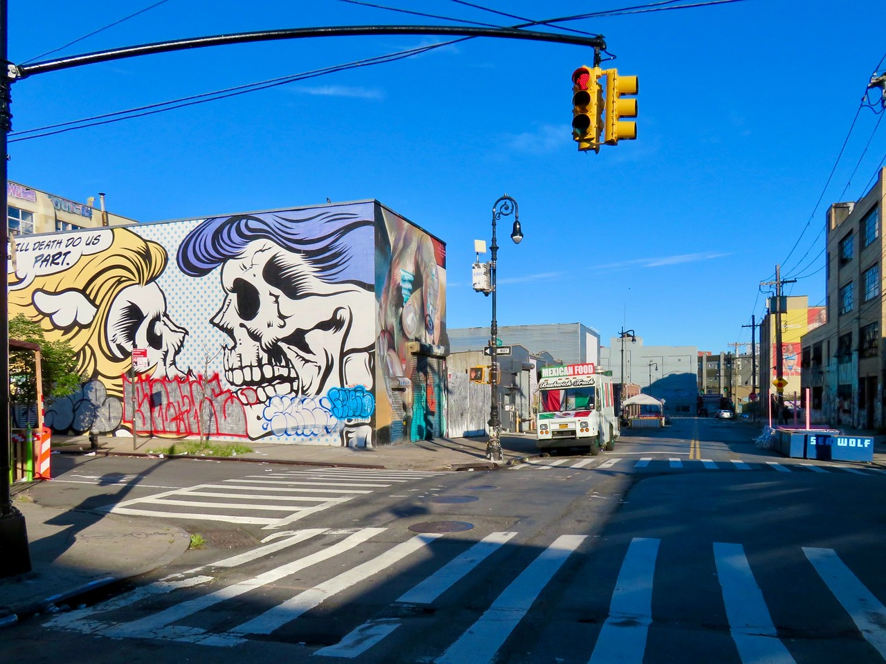 wycoff avenue in bushwick brooklyn - dface til death do us part mural street art