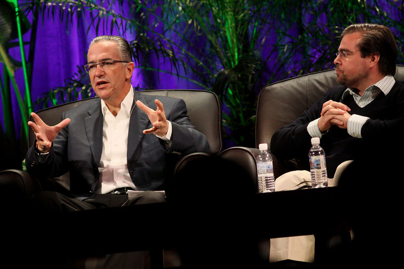 """Latin America: """"Mexico's Future: Business vs. Narcotics"""" and """"Venezuela's Future: Living with Chavez"""": Ricardo Salinas (L), Chair, Grupo Salinas; and David Brillembourg, President, The Brilla Group"""