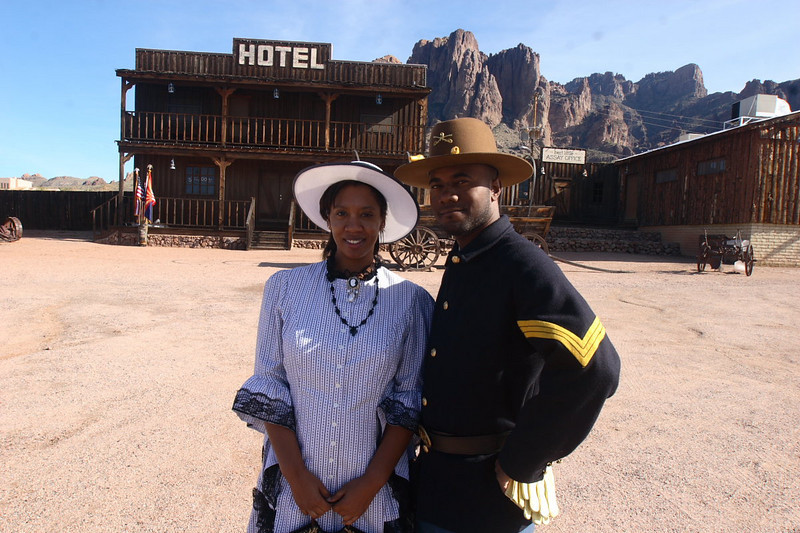 "ARIZONA BUFFALO SOLDIERS..Mining Camp...Buffalo Soldiers of the Arizona Territory and Ladies and Gentlemen of the Regiment, Mesa, AZ. ""CELEBRATE ANNIVERSARY,"" January 19, 2008."