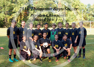 2016 Thompson Boys Soccer Team