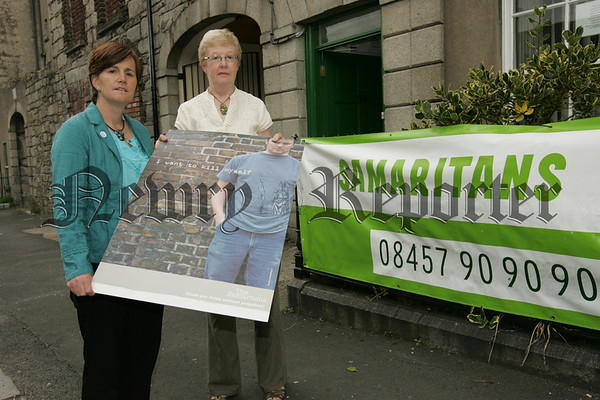 Maura Grant Director Samaritans Newry is pictured with Minister for Education Caitroina Ruane. 07W30N21