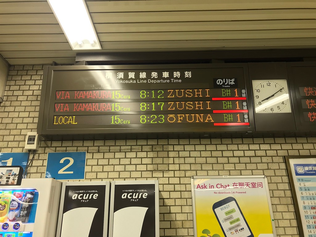 Signboards for the Yokosuka Line.