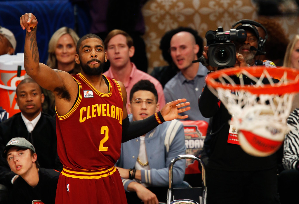 . Cleveland Cavaliers Guard Kyrie Irving makes a shot during the All-Star 3-point shootout as part of the NBA All-Star Saturday Night events in New Orleans, Saturday, Feb. 18, 2017. (AP Photo/Max Becherer)