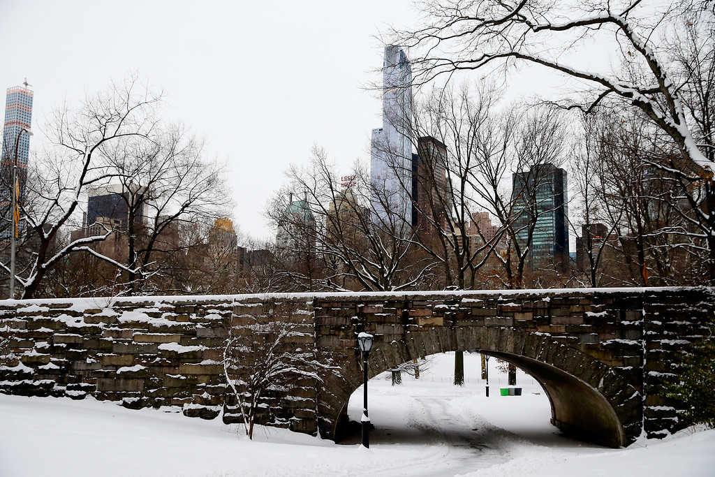 . A nearly empty Central Park  following a snow storm seen on the morning of January 27, 2015 in New York City.The park was closed in anticipation of heavy overnight snow from Winter Storm Juno.  (Photo by Alex Trautwig/Getty Images)