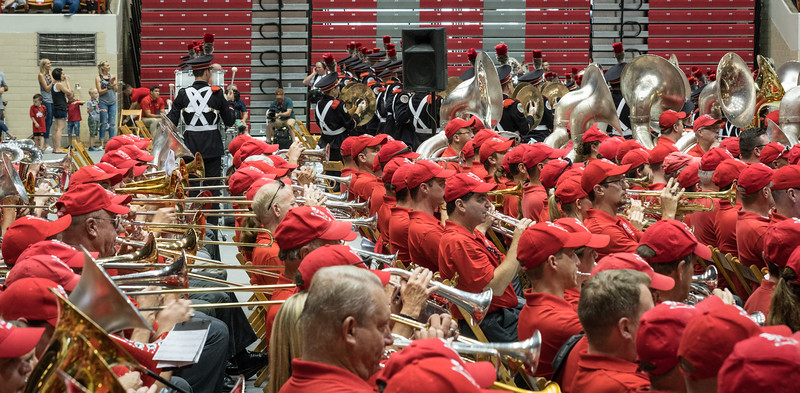 """OSUMB usually has the entire arena floor for Skull Session.  On Alumni Day they share it with 560+ of """"The Red Horde""""."""