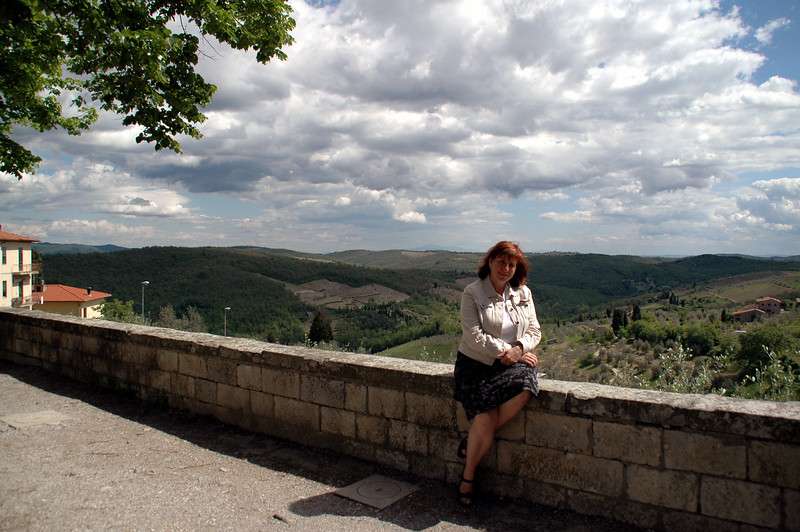 Paula resting for a moment in Radda in Chianti