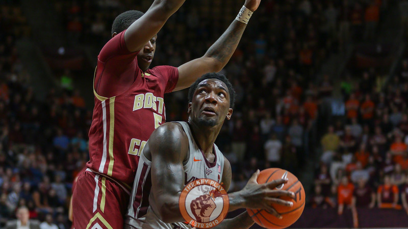 Tyrece Radford looks up at a Boston College defender in the second half. (Mark Umansky/TheKeyPlay.com)
