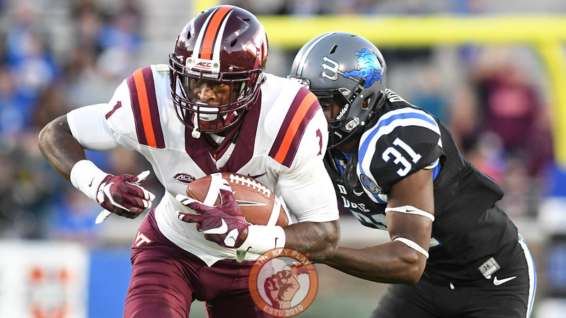 Virginia Tech wide receiver Isaiah Ford (1) advances the ball following his reception. (Michael Shroyer/TheKeyPlay.com)