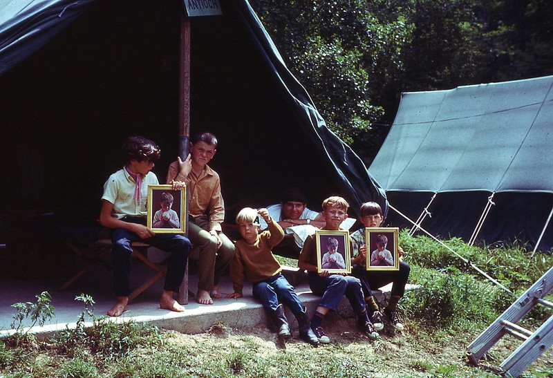 1970 WVS Bible Camp Boys at tent.jpg