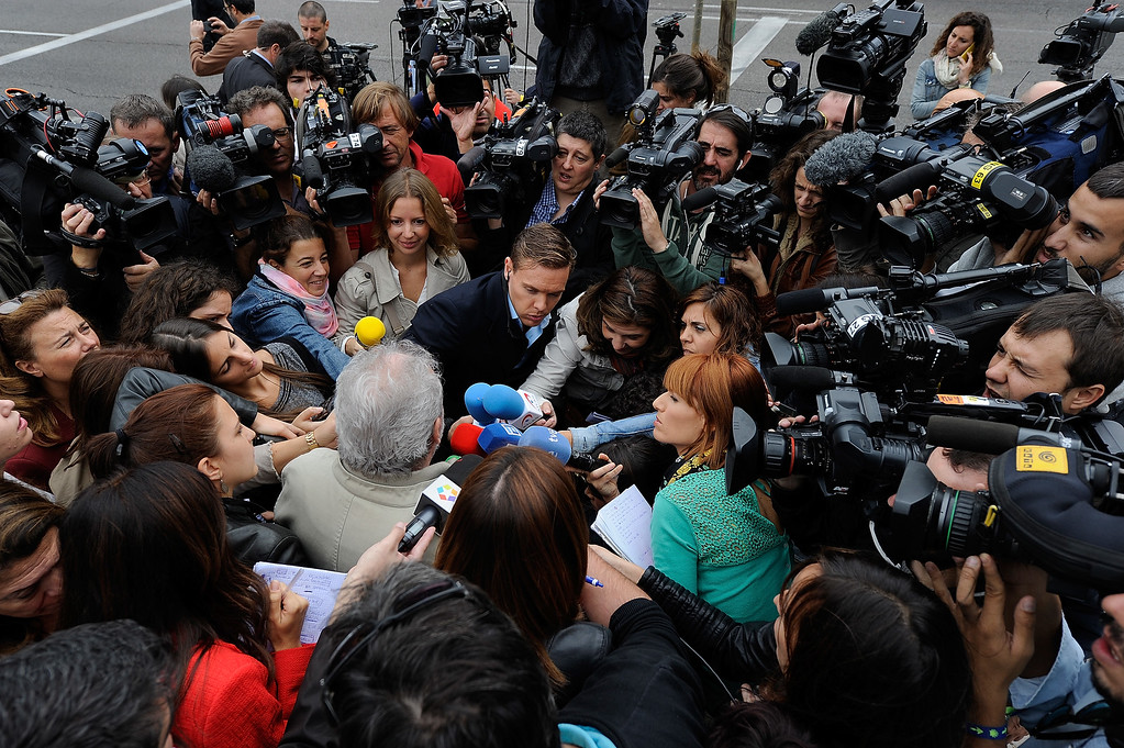 . Nurses\' union leader Juan Jose Cano talks to the press outside Carlos III hospital where a nurse is being treated after testing positive for the virus Ebola on October 7, 2014 in Madrid, Spain.  (Photo by Denis Doyle/Getty Images)
