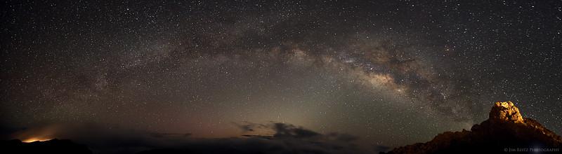 Milky Way panoramic image on Mt. Haleakala, an hour before sunrise.