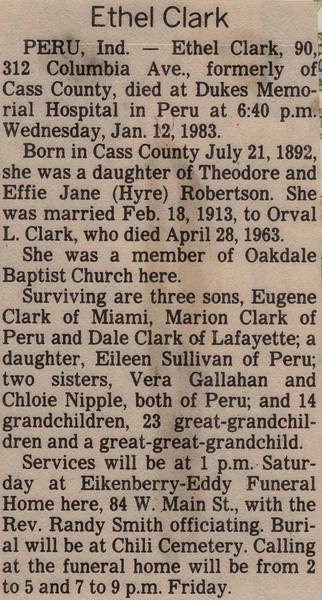 Newspaper Clipping - Obituary - Ethel Clark - January 12, 1983.jpg