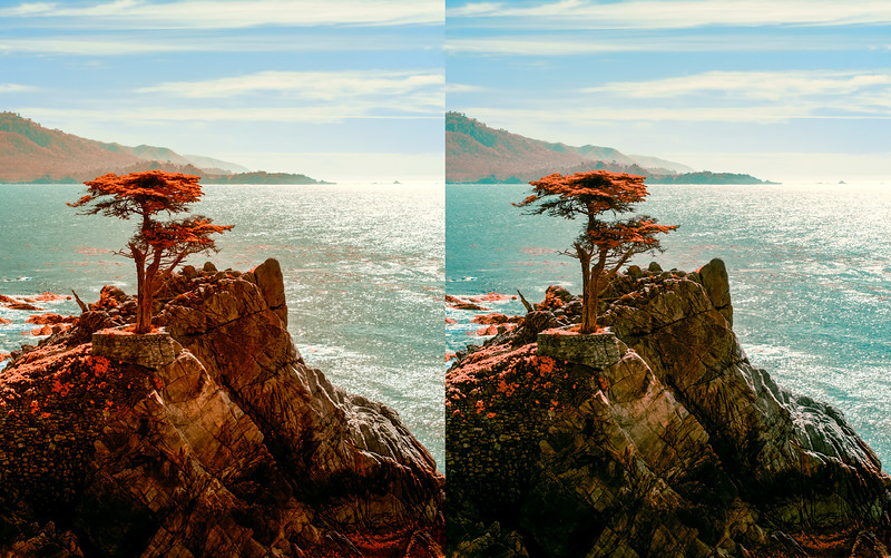 Comparison of infrared images before and after using subtractive color