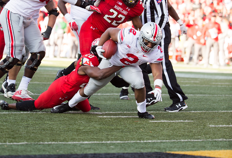 Ohio State RB #2 J.K. Dobbins is tackled short of the goal line by Maryland DB #20 Antwaine Richardson