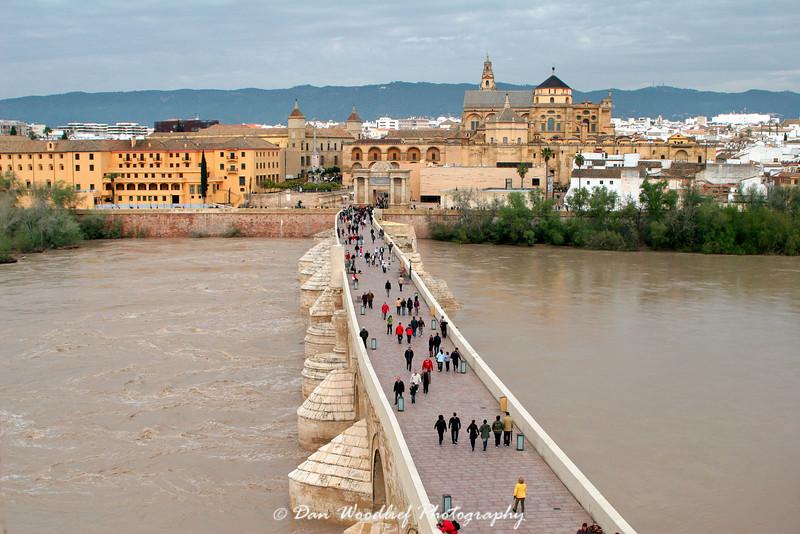 La Mezquita, the Roman Bridge, and the Guadalquivir River - Cordoba, Spain