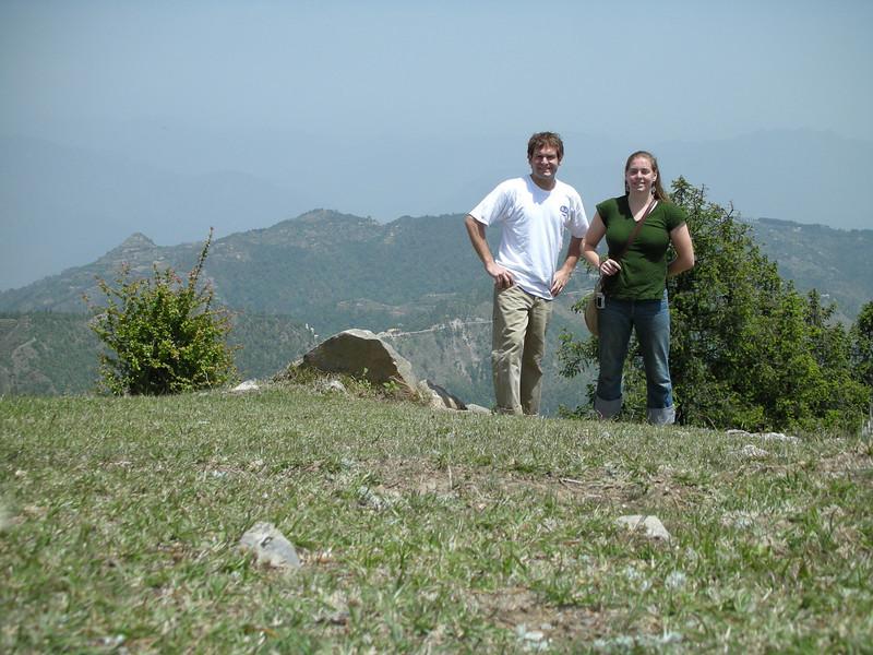Jon Deutsch & Cheryl Deutsch in front of the Himalayas.